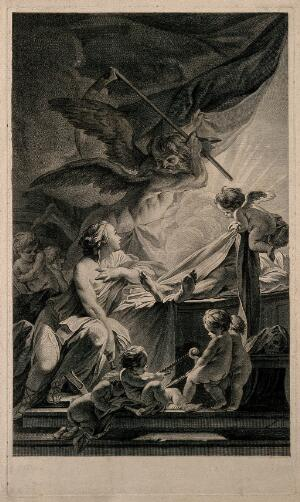 view A woman personifying anatomy looks searchingly into the light emanating from a corpse, but she is mortally threatened by the scythe of Time; representing anatomy's struggle with decay. Engraving by N-G. Dupuis, 1759, after J-B-M. Pierre.