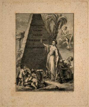 view Hygieia stands before a pyramid engraved with the names of famous figures in the history of medicine. Etching by B. Hübner, 1777.