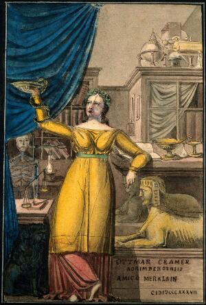 view Hygieia, goddess of health, in a scientific cabinet. Coloured pen and ink drawing by O. Cramer, 1837.