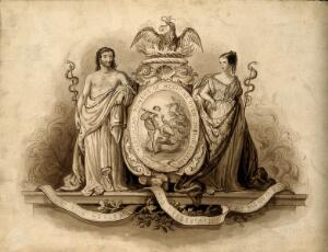 view Aesculapius and Hygieia, with Hercules fighting the hydra; representing medicine. Watercolour painting.