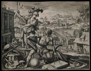 view A mathematician draws a semi-circle while Minerva watches over him. Engraving by R. Sadeler, 1591, after M. de Vos.