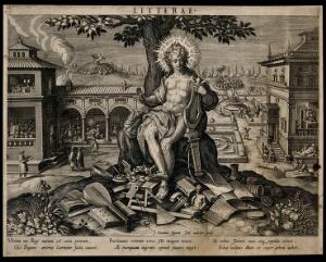 view Apollo, god of literature, plays his harp; a town goes about its rituals. Engraving by J. Sadeler after J. van der Straet, 1594.
