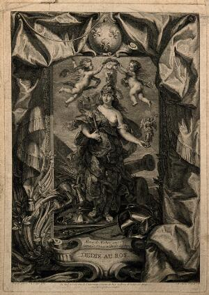 view Marie de Medici dressed in warlike form as Minerva, goddess of arts. Engraving by J.B. Massé, 1708, after J.M. Nattier after P.P. Rubens.