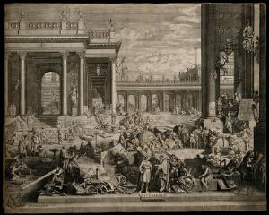 view Demonstrations of the arts and sciences in a classical courtyard. Etching by J. Sturt after S. Le Clerc.