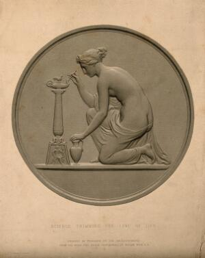 view A female figure representing science trimming the lamp of life. Engraving by A. R. Freebairn, 1849, after W. Wyon.