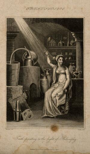 view A woman representing truth sits in a chemical laboratory and points at the source of a ray of light, representing philosophy. Engraving by Crabb, 1817, after G.M. Brighty.