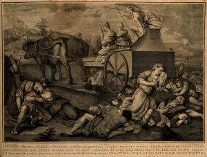 view Death and three fates on an ox-drawn carriage; historical figures die on the ground beneath; representing the triumph of death. Engraving by S. Pomarede, 1748, after G. Buti after  Bonifacio de' Pitati.