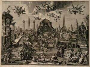 view Five tombs containing skeletons of historical exemplars of wisdom, war, beauty, strength and riches; an allegory of change, decay and death. Engraving after A.P. van de Venne, ca. 1655.
