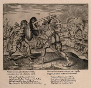 view Two men fighting while animals sit in pairs placidly watching; an allegory of man's ability to fight his own kind. Engraving by P. Galle, 1563.
