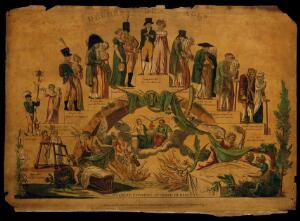 view The ages of man represented in a step scheme; with the divine judgement under the stairs. Coloured etching.