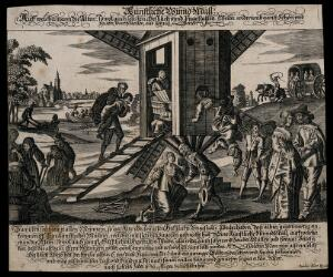 view Husbands bringing their ugly wives to a windmill, to be transformed into beautiful ones. Engraving by P. Fürst, c. 1650.