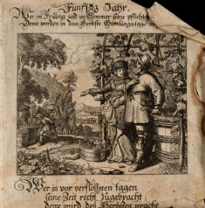 view A man and a woman in a vineyard in autumn; representing the benefits of the fiftieth year of life. Engraving by Conrad Meyer, 16--.