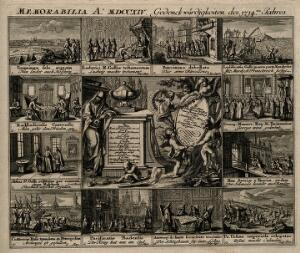 view Memorial of European events in the year 1714. Engraving by Christoph Weigel, c. 1722.