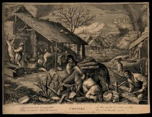 view A donkey carries wood while people shelter and eat near a fire; representing winter. Etching, 17--, after F.G. Bassano the younger.