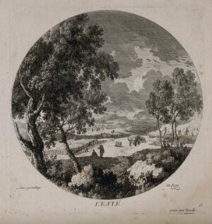 view A harvesting scene representing summer. Etching by N. Perelle, 17th century.