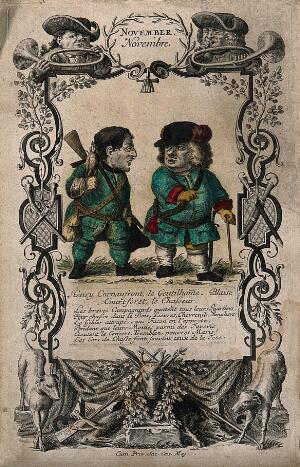 view Two dwarfs with hunting gear; representing the easy life of game hunting. Coloured etching by M. Engelbrecht, after 1715.