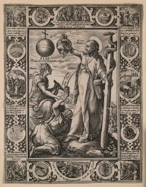 view Christ holds up a glass heart filled with animals (sins) and cures a sick woman with the fluid from the wound in his side. Engraving by H. Goltzius, 1578.