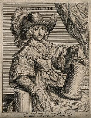 view A young woman with a broken pillar; representing fortitude. Etching, 16--.