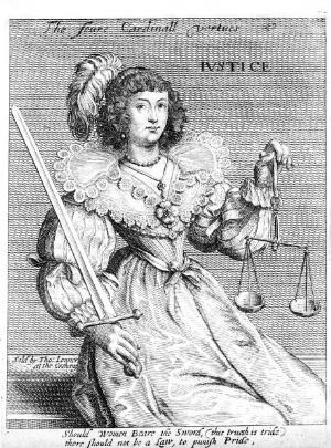 view A woman with a sword and a balance; representing justice. Etching, 16--.