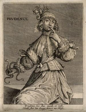 view A woman with two serpents holding her finger to her lips; representing prudence. Etching, 16--.