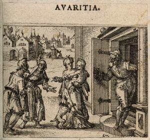 view A wealthy bürger refuses charity to an old couple. Etching by C. Murer after himself, c. 1600-1614.