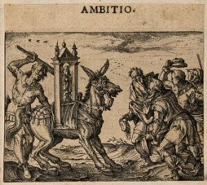 view Men worship an ass bearing a religious image; alluding to both Aesop's fable of the ass and idol worship in Arianism and contemporary Catholicism. Etching by C. Murer after himself, c. 1600-1614.
