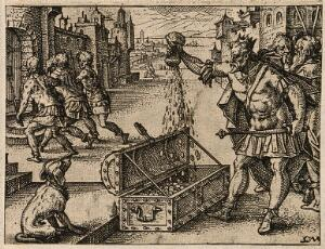 view The Roman emperor Valens pours money into a coffer; an officer is arrested and led to prison. Etching by C. Murer after himself, c. 1600-1614.