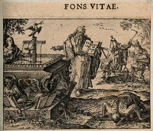 view A prophet points to a cross which is leaking water; representing faith, the 'fountain of life'. Etching by C. Murer after himself, c. 1600-1614.