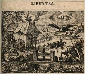 view A stork impales a frog in a peaceful scene by a river; allegory of freedom. Etching by C. Murer after himself, c. 1600-1614.
