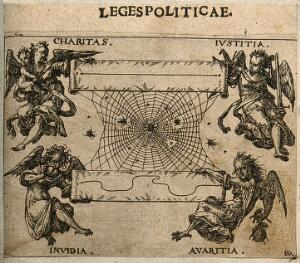 """view Allegorical figures hold up two scrolls, separated by a spider's web: one shows a straight line between """"Charitas"""" and """"Iustitia""""; the other a crooked line between """"Invidia"""" and """"Avaritia"""". Etching by C. Murer after himself, c. 1600-1614."""