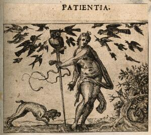 view Birds attacking an owl resting upon a staff held by a naked woman; representing patience. Etching by C. Murer after himself, c. 1600-1614.