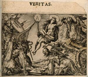 view Truth represented as the word of God assailed by persecution, superstition, tradition, betrayal and violence. Etching by C. Murer after himself, c. 1600-1614.