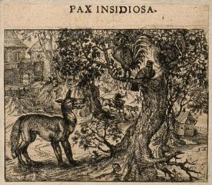 view A fox talking to a chicken; representing a fable by Aesop on false friendship. Etching by C. Murer after himself, c. 1600-1614.