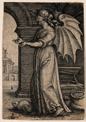 view A winged, blindfolded woman; representing avarice. Engraving by G. Pencz.