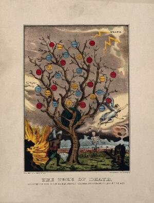 view A withered tree bearing apples labelled with sins; representing the life of sin. Coloured lithograph, c. 1870, after J. Bakewell.