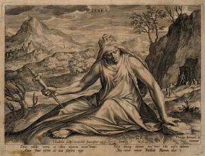 view Cybele wearing a turreted crown and holding a sceptre; in the background men work on the land; representing Earth, one of the four elements. Engraving by J. Sadeler, 1587, after D. Barendsz.