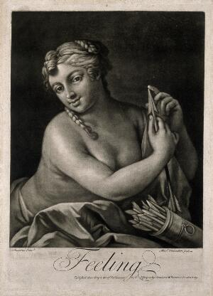 view A female figure feeling an arrow with her finger; representing the sense of touch. Mezzotint by A. Vanhacken after J. Amiconi.
