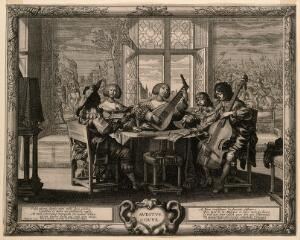 view A group of musicians; representing the sense of hearing. Engraving by A. Bosse, c. 1650.
