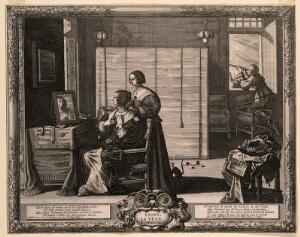 view A woman looks at herself in her mirror; a man looks through a telescope; representing the sense of sight. Engraving by A. Bosse after himself, c. 1650.