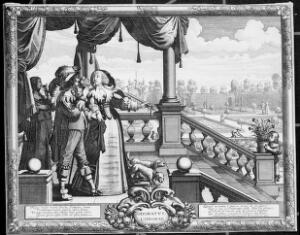 view People smelling flowers on the steps of an ornamental garden; representing the sense of smell. Engraving by A. Bosse after himself, ca. 1638.