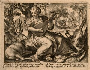 view A woman plays music to a stag; God condemns Adam and Eve to exile; representing the sense of hearing. Engraving by N. de Bruyn after M. de Vos.