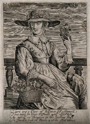 view A woman with some flowers; representing the sense of smell. Engraving, 16--.