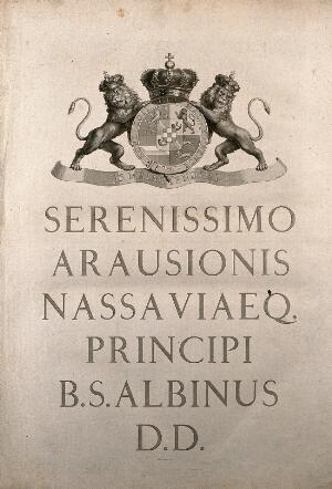 view Dedication to the prince of Orange-Nassau. Line engraving by J. Wandelaar, 1747.