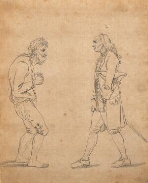 view Two men exhibiting postures which express their character: on the left a man of 'brutal sensibility', on the right, a miser. Drawing by D.N. Chodowiecki, c. 1789.