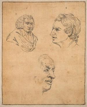 view Samuel Johnson: three portraits. Drawing, c. 1789.