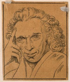 view Laurence Sterne. Drawing, c. 1789.