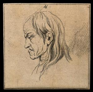 view A man whose face exemplifies the melancholy temperament. Drawing, c. 1789.