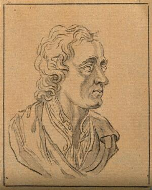 view John Locke: perspective of a bust. Drawing, c. 1789, after D.N. Chodowiecki.