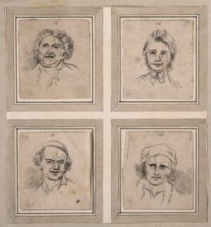 view Four physiognomies. Drawings, c. 1789.