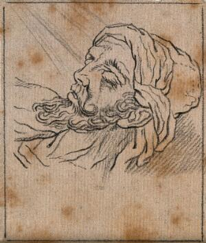 view The face of a hero immediately before death. Drawing, c. 1789, after A. Schluter.